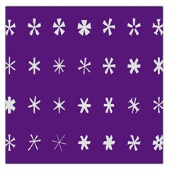 Purple Flower Floral Star White Large Satin Scarf (Square)