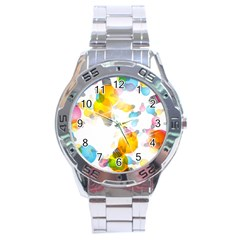 Lamp Color Rainbow Light Stainless Steel Analogue Watch
