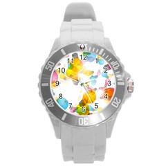 Lamp Color Rainbow Light Round Plastic Sport Watch (L)