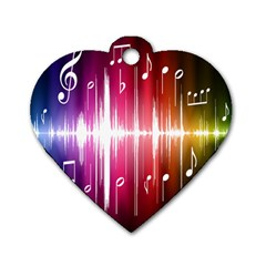 Music Data Science Line Dog Tag Heart (Two Sides)