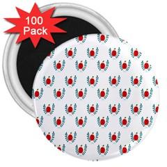 Sage Apple Wrap Smile Face Fruit 3  Magnets (100 pack)