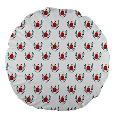 Sage Apple Wrap Smile Face Fruit Large 18  Premium Round Cushions