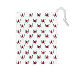 Sage Apple Wrap Smile Face Fruit Drawstring Pouches (Large)