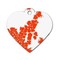 Red Spot Paint Dog Tag Heart (Two Sides)