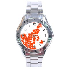 Red Spot Paint Stainless Steel Analogue Watch