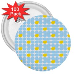Retro Stig Lindberg Vintage Posters Yellow Blue 3  Buttons (100 pack)