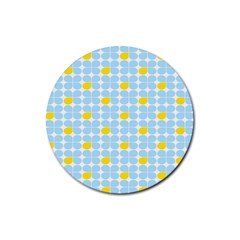 Retro Stig Lindberg Vintage Posters Yellow Blue Rubber Round Coaster (4 pack)