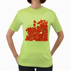 Red Spot Paint White Polka Women s Green T-Shirt