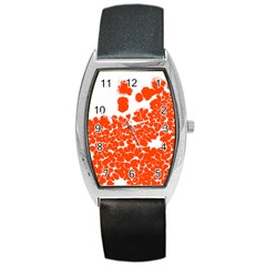 Red Spot Paint White Polka Barrel Style Metal Watch
