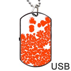 Red Spot Paint White Polka Dog Tag USB Flash (One Side)