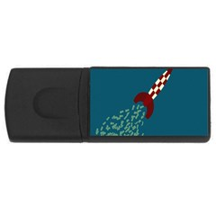 Rocket Ship Space Blue Sky Red White Fly USB Flash Drive Rectangular (4 GB)