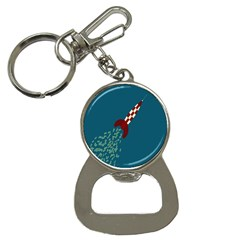 Rocket Ship Space Blue Sky Red White Fly Button Necklaces