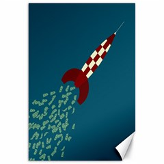 Rocket Ship Space Blue Sky Red White Fly Canvas 20  x 30