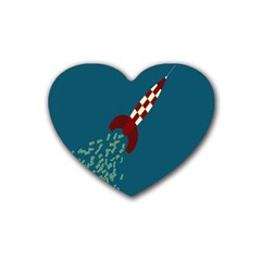 Rocket Ship Space Blue Sky Red White Fly Rubber Coaster (Heart)
