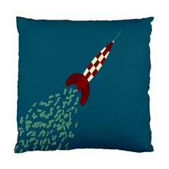 Rocket Ship Space Blue Sky Red White Fly Standard Cushion Case (One Side)
