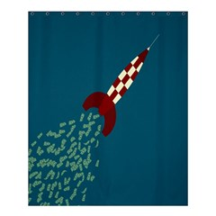 Rocket Ship Space Blue Sky Red White Fly Shower Curtain 60  x 72  (Medium)
