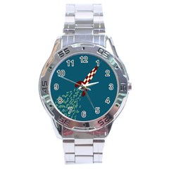 Rocket Ship Space Blue Sky Red White Fly Stainless Steel Analogue Watch