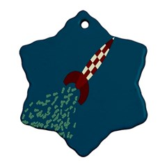 Rocket Ship Space Blue Sky Red White Fly Ornament (Snowflake)