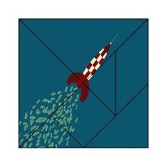Rocket Ship Space Blue Sky Red White Fly Acrylic Tangram Puzzle (6  x 6 )