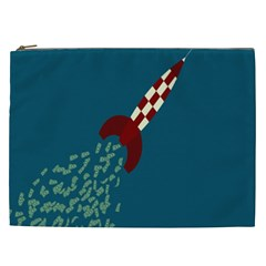 Rocket Ship Space Blue Sky Red White Fly Cosmetic Bag (XXL)