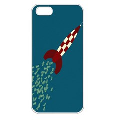 Rocket Ship Space Blue Sky Red White Fly Apple iPhone 5 Seamless Case (White)