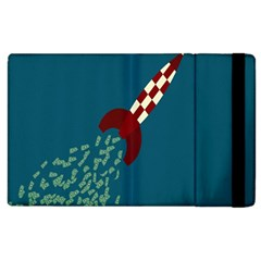 Rocket Ship Space Blue Sky Red White Fly Apple iPad 2 Flip Case