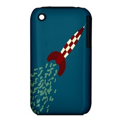 Rocket Ship Space Blue Sky Red White Fly iPhone 3S/3GS