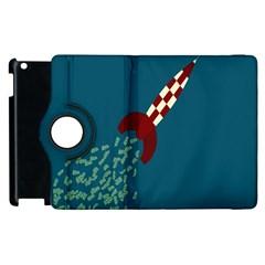 Rocket Ship Space Blue Sky Red White Fly Apple iPad 2 Flip 360 Case