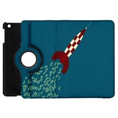 Rocket Ship Space Blue Sky Red White Fly Apple iPad Mini Flip 360 Case