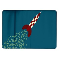 Rocket Ship Space Blue Sky Red White Fly Samsung Galaxy Tab 10.1  P7500 Flip Case