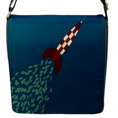 Rocket Ship Space Blue Sky Red White Fly Flap Messenger Bag (S)