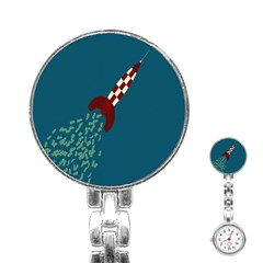 Rocket Ship Space Blue Sky Red White Fly Stainless Steel Nurses Watch