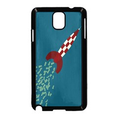 Rocket Ship Space Blue Sky Red White Fly Samsung Galaxy Note 3 Neo Hardshell Case (Black)