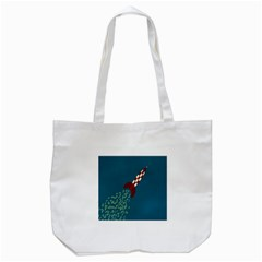 Rocket Ship Space Blue Sky Red White Fly Tote Bag (White)