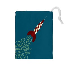 Rocket Ship Space Blue Sky Red White Fly Drawstring Pouches (Large)