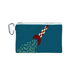 Rocket Ship Space Blue Sky Red White Fly Canvas Cosmetic Bag (S)