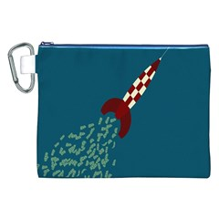 Rocket Ship Space Blue Sky Red White Fly Canvas Cosmetic Bag (XXL)