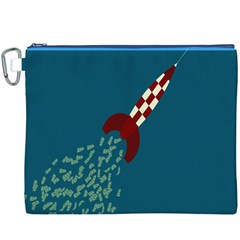 Rocket Ship Space Blue Sky Red White Fly Canvas Cosmetic Bag (XXXL)