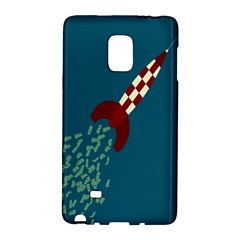 Rocket Ship Space Blue Sky Red White Fly Galaxy Note Edge