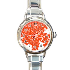 Red Spot Paint White Round Italian Charm Watch