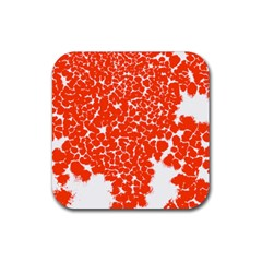 Red Spot Paint White Rubber Coaster (Square)