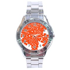Red Spot Paint White Stainless Steel Analogue Watch