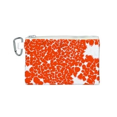 Red Spot Paint White Canvas Cosmetic Bag (S)