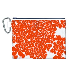 Red Spot Paint White Canvas Cosmetic Bag (L)