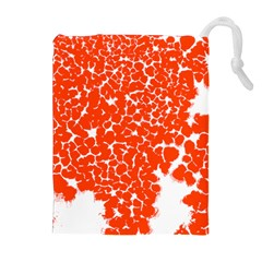 Red Spot Paint White Drawstring Pouches (Extra Large)