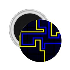 Tron Light Walls Arcade Style Line Yellow Blue 2.25  Magnets