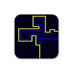 Tron Light Walls Arcade Style Line Yellow Blue Rubber Square Coaster (4 pack)