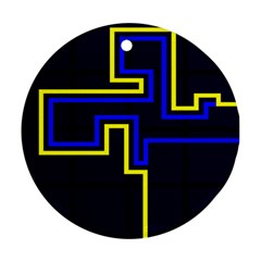 Tron Light Walls Arcade Style Line Yellow Blue Round Ornament (Two Sides)