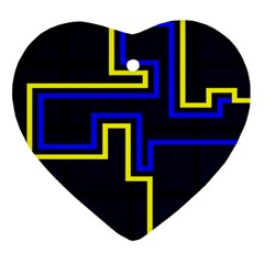 Tron Light Walls Arcade Style Line Yellow Blue Heart Ornament (Two Sides)