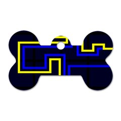 Tron Light Walls Arcade Style Line Yellow Blue Dog Tag Bone (two Sides)